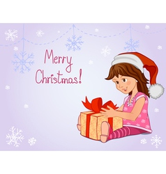 Little girl with Christmas gift vector image vector image