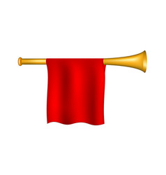 trumpet with red flag vector image
