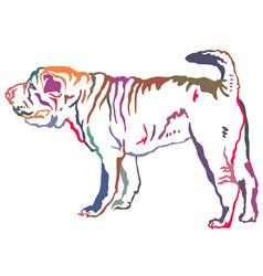 Colorful decorative standing portrait of shar pei vector