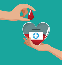 donate blood hand holding heart drop vector image vector image
