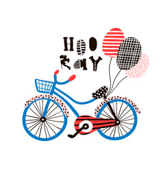 Hooray greeting background with creative bike and vector