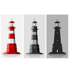 Lighthouses Set of of large lighthouses over grey vector image vector image