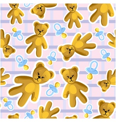 Seamless baby pattern with pacifier and teddy bear vector image