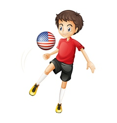 A man playing with the ball from the United States vector image vector image