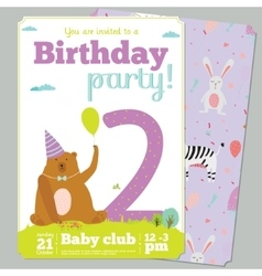 Birthday Party Invitation card template with cute vector image vector image