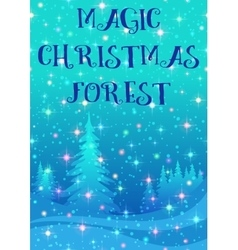 Christmas background winter forest vector
