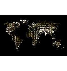Colorful pixel world luminous night map vector image