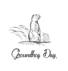 happy groundhog day sketched vector image vector image