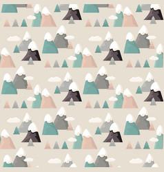 mountain seamless pattern flat style cartoon vector image