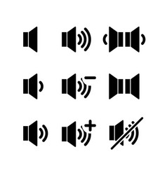 set of simple black icons of sound volume on white vector image vector image