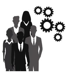business people teamwork gear together vector image