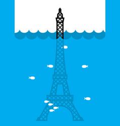 Eiffel tower flood deluge in paris plenty of vector