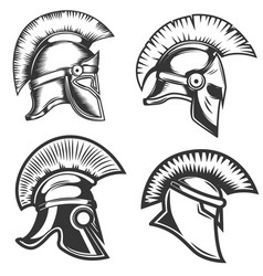 set of spartan helmets isolated on white vector image