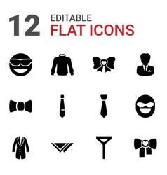 12 tie icons vector image