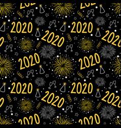 2020 new years eve firework celebration seamless vector image