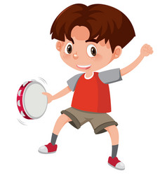 A boy playing tambourine vector