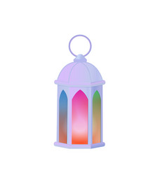 A set arab lanterns with multi-colored glass vector