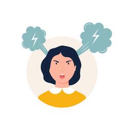 a shouting angry girl vector image