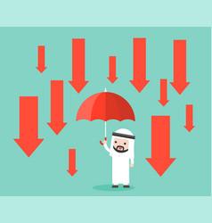 arab businessman hold an umbrella with down arrow vector image