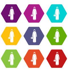 Arabic woman icon set color hexahedron vector