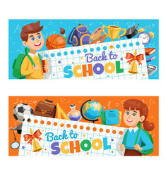 Back to school 2 banners vector
