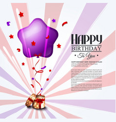 Birthday card with open gift box balloons and vector image