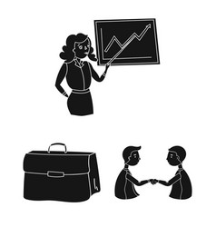 Business conference and negotiations black icons vector
