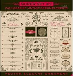 Calligraphic vintage elements baroque set vector image
