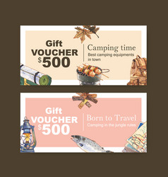 Camping voucher design with backpack firewood map vector