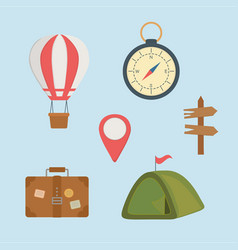 camping zone set icons vector image