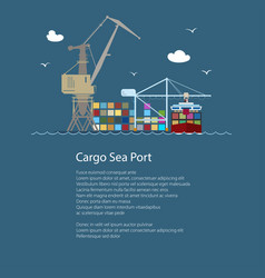 Cargo seaport with container ship vector