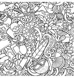 cartoon doodles haiti seamless pattern vector image