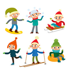 cartoon teenaged boys in winter clothes cartoon vector image