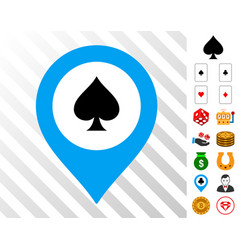 Casino map marker icon with bonus vector