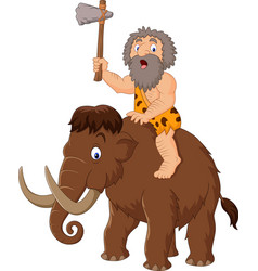 caveman riding a mammoth vector image