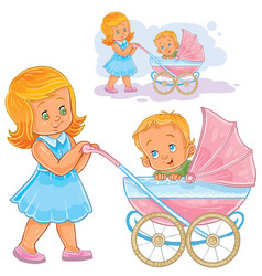 Clip art older sister wheeled vector
