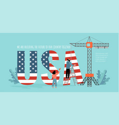 conceptual image with people building usa letters vector image