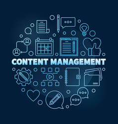 Content management circular outline blue vector