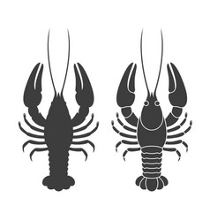 Crayfish silhouette vector