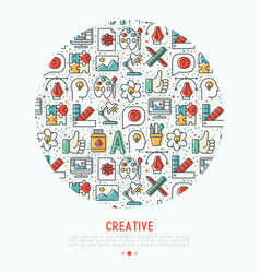creative concept in circle with thin line icons vector image