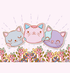 cute cats head with flowers plants vector image