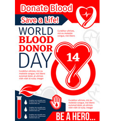 donate blood save life banner of world donor day vector image