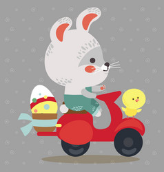 Easter bunny drive motorcycle decorated eggs vector