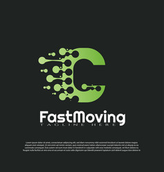 Fast moving logo with initial c letter concept vector