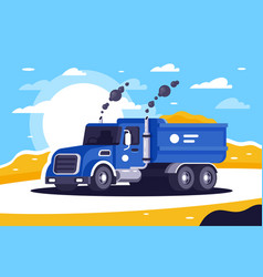 flat loaded dump truck with sand is going to vector image