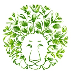 Floral decorative ornament lion vector