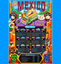 Food truck menu street food mexican festival vector