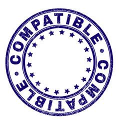 Grunge textured compatible round stamp seal vector