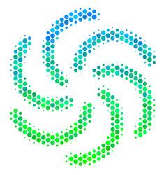 Halftone blue-green galaxy icon vector