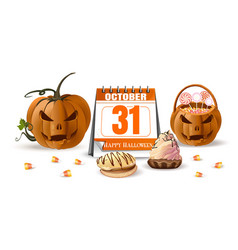 Halloween design with jack o lantern and sweets vector